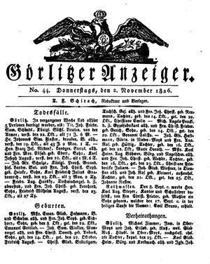 Görlitzer Anzeiger vom 02.11.1826