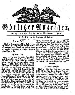 Görlitzer Anzeiger on Nov 9, 1826