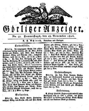 Görlitzer Anzeiger vom 23.11.1826