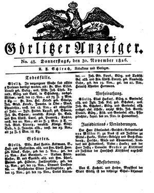Görlitzer Anzeiger vom 30.11.1826