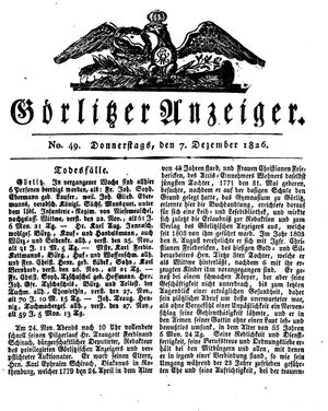 Görlitzer Anzeiger vom 07.12.1826