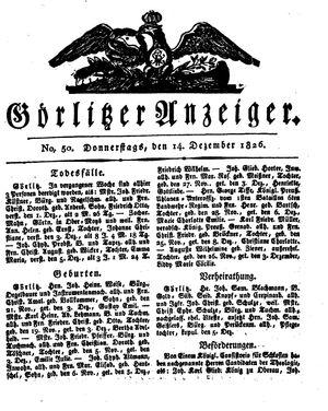 Görlitzer Anzeiger vom 14.12.1826