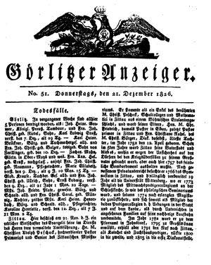 Görlitzer Anzeiger on Dec 21, 1826