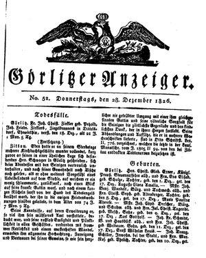 Görlitzer Anzeiger vom 28.12.1826