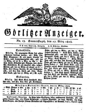 Görlitzer Anzeiger vom 27.03.1828