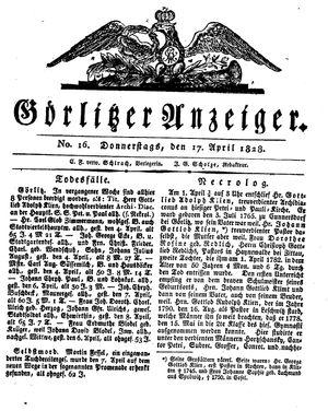 Görlitzer Anzeiger vom 17.04.1828