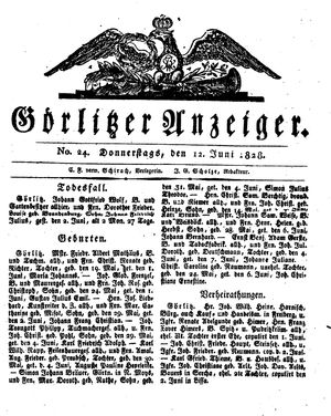 Görlitzer Anzeiger vom 12.06.1828