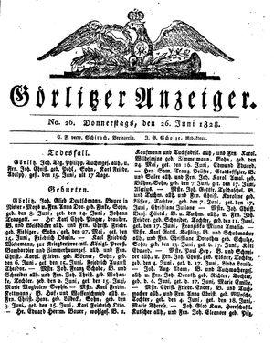 Görlitzer Anzeiger vom 26.06.1828