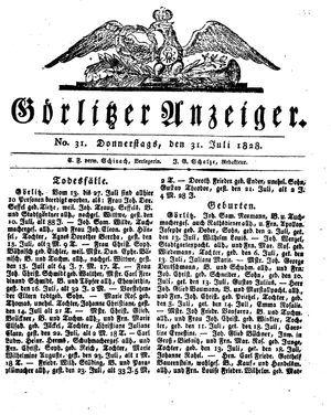 Görlitzer Anzeiger vom 31.07.1828
