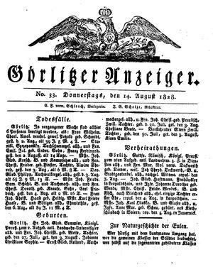 Görlitzer Anzeiger vom 14.08.1828