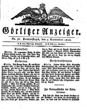 Görlitzer Anzeiger vom 04.09.1828