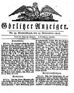 Görlitzer Anzeiger vom 25.09.1828