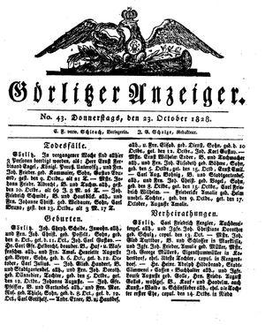 Görlitzer Anzeiger vom 23.10.1828