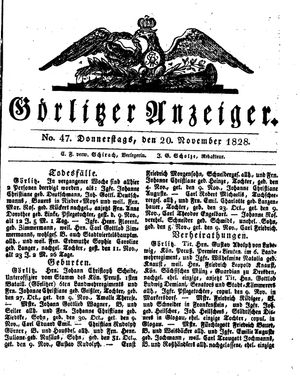 Görlitzer Anzeiger vom 20.11.1828