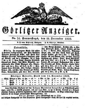 Görlitzer Anzeiger vom 18.12.1828