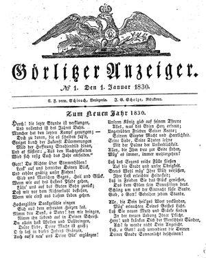 Görlitzer Anzeiger vom 01.01.1830