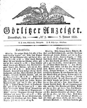 Görlitzer Anzeiger vom 07.01.1830