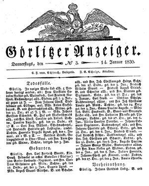 Görlitzer Anzeiger vom 14.01.1830