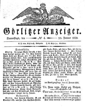 Görlitzer Anzeiger vom 21.01.1830