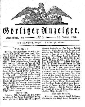 Görlitzer Anzeiger vom 28.01.1830