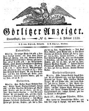 Görlitzer Anzeiger vom 04.02.1830