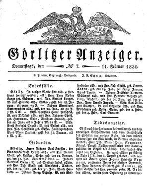 Görlitzer Anzeiger vom 11.02.1830