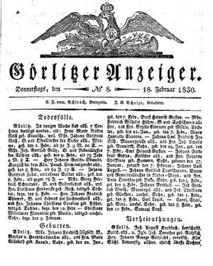 Görlitzer Anzeiger vom 18.02.1830
