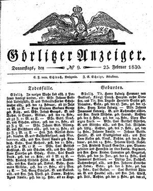 Görlitzer Anzeiger vom 25.02.1830