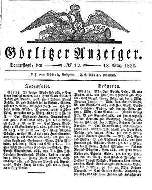 Görlitzer Anzeiger vom 18.03.1830