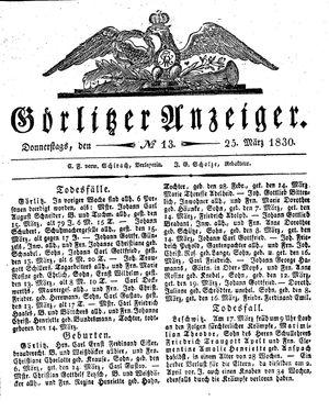 Görlitzer Anzeiger vom 25.03.1830