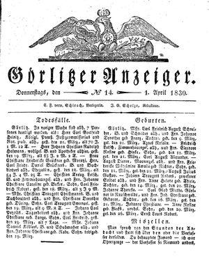 Görlitzer Anzeiger vom 01.04.1830