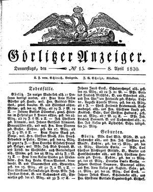 Görlitzer Anzeiger vom 08.04.1830