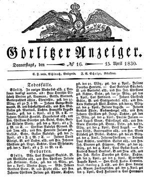 Görlitzer Anzeiger vom 15.04.1830