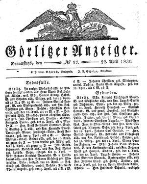 Görlitzer Anzeiger vom 22.04.1830