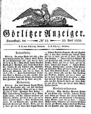 Görlitzer Anzeiger vom 29.04.1830