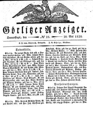 Görlitzer Anzeiger vom 20.05.1830