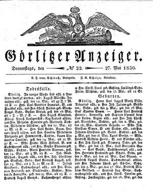 Görlitzer Anzeiger vom 27.05.1830