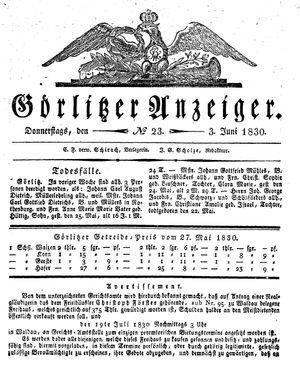 Görlitzer Anzeiger vom 03.06.1830