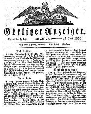 Görlitzer Anzeiger vom 17.06.1830