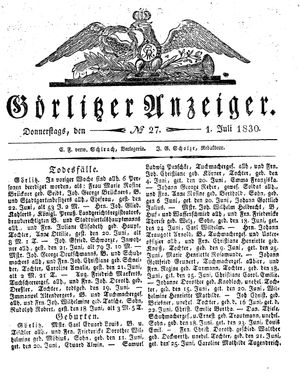 Görlitzer Anzeiger vom 01.07.1830