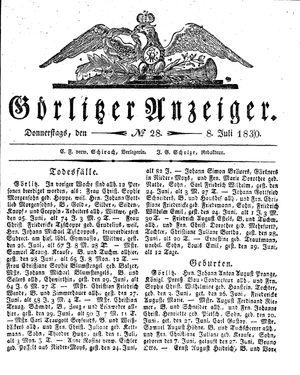 Görlitzer Anzeiger vom 08.07.1830