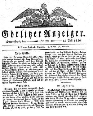 Görlitzer Anzeiger vom 15.07.1830