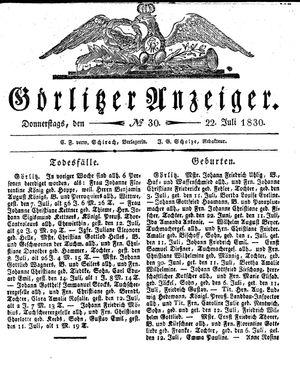 Görlitzer Anzeiger vom 22.07.1830