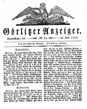 Görlitzer Anzeiger vom 29.07.1830
