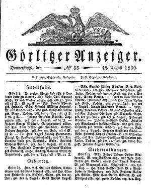 Görlitzer Anzeiger vom 12.08.1830
