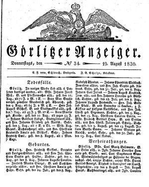 Görlitzer Anzeiger vom 19.08.1830