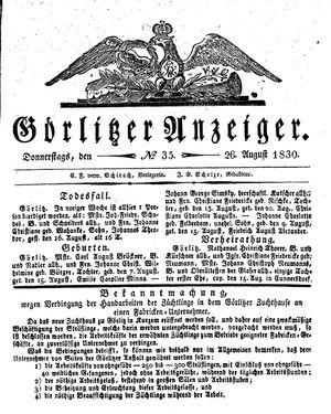 Görlitzer Anzeiger vom 26.08.1830