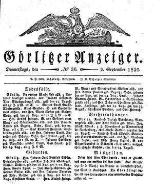 Görlitzer Anzeiger vom 02.09.1830