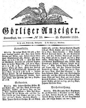 Görlitzer Anzeiger vom 16.09.1830