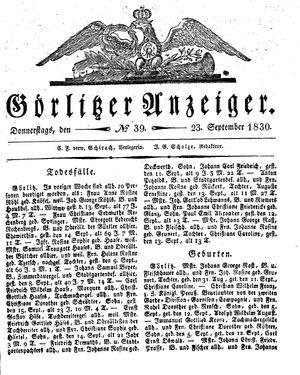 Görlitzer Anzeiger vom 23.09.1830